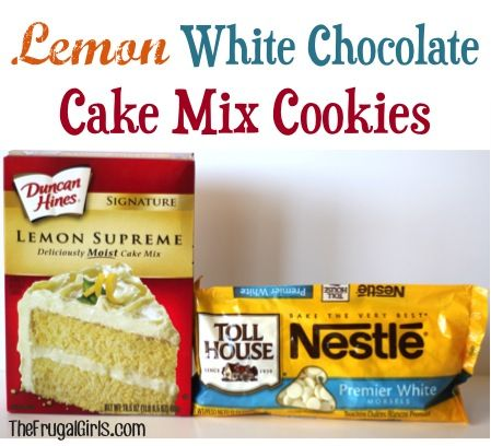 Lemon White Chocolate Cake Mix Cookies Recipe! ~ from TheFrugaGirls.com {just 4 ingredients and you've got yourself some absolutely delicious cookies!!} #lemon #cookie #recipes