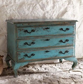 turquoise distressed furniture