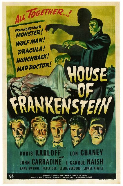 House Of Frankenstein starring Boris Karloff and Lon Chaney, 1944. #vintage #1940s #movies