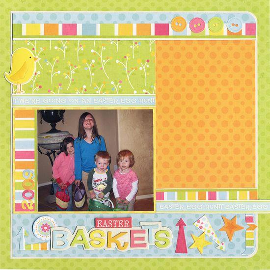 Easter Baskets - Scrapbook.com - #scrapbooking #layouts
