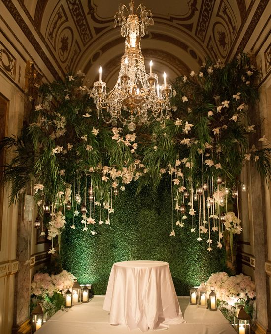 Elaborate white & green ceremony altar