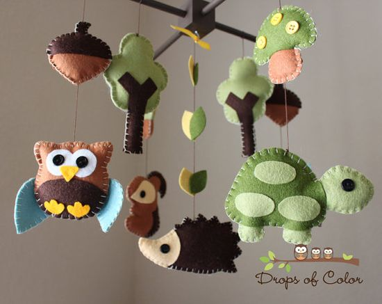 so cute felt animal mobile!