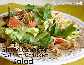 Healthy Slow Cooker Italian Chicken Salad from Sixsistersstuff.com #chicken #main dish #recipe