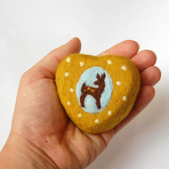 Felted Soap Yellow Heart with Lovely Fawn   Cinnamon by SoFino, $18.00