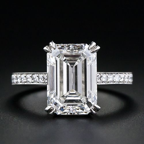 4 Carat Emerald Cut Diamond Engagement Ring