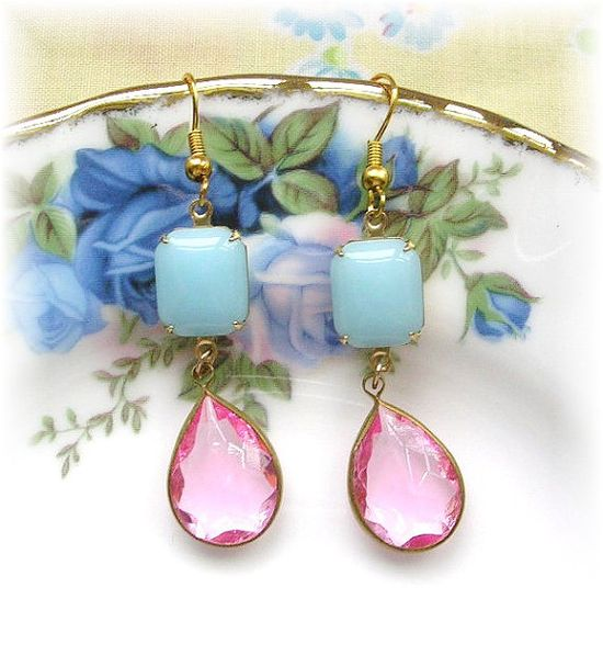 Vintage Glass and Lucite Dangle Earrings Pastel by TheVintageHeart