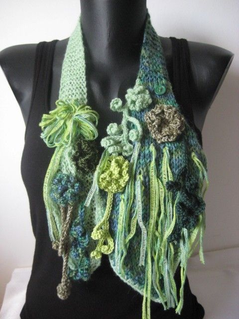 Freeform Scarf / Scarflette  in Shades of green Scarf necklace. via Etsy.