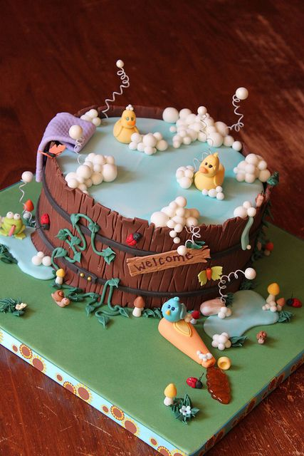 Wooden barrel tub cake by Andrea's SweetCakes, via Flickr
