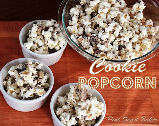 Chocolate Chip Cookie Popcorn on MyRecipeMagic.com #popcorn #cookie #chocolate #chip