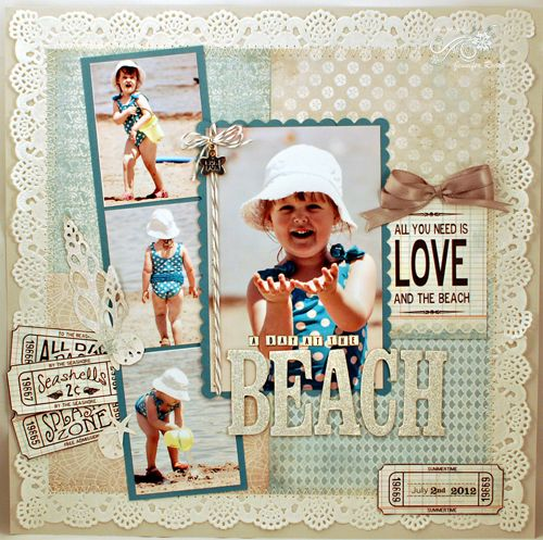 Summer, beach scrapbooking layout.
