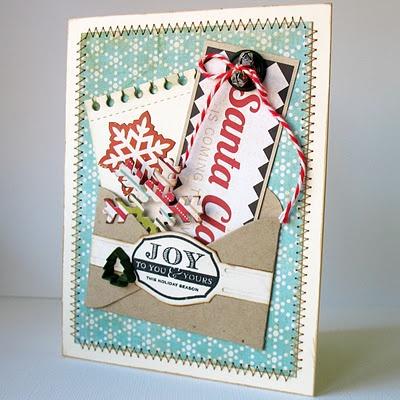 A wonderfully fun envelope pocket Christmas card created by Kathy Martin. #Christmas #card #card_making #scrapbooking #handmade #pocket