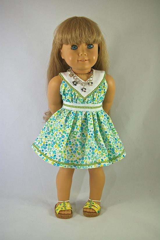 American Girl 18 inch doll dress Easter spring aqua blue green bubble print versatile with belt. $15.00, via Etsy.