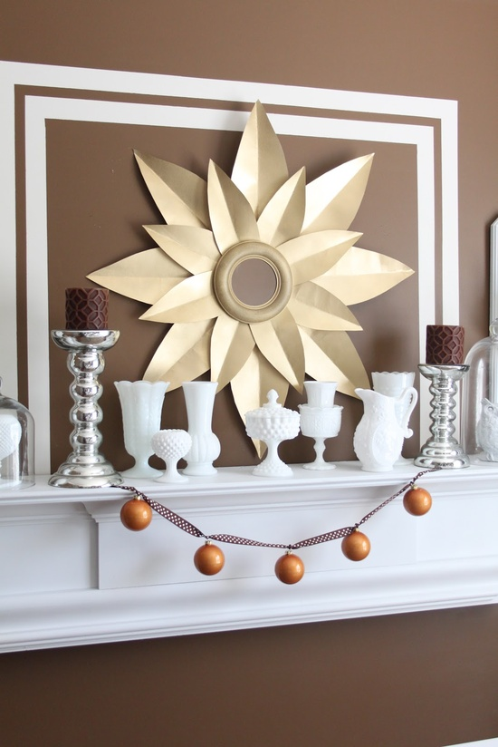 Love this mantel decor – so crisp & bold!