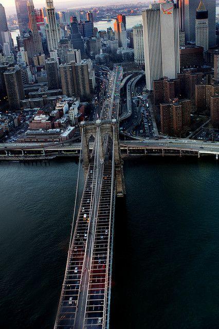 NYC. Bird's eye view of Manhattan end of Brooklyn Bridge