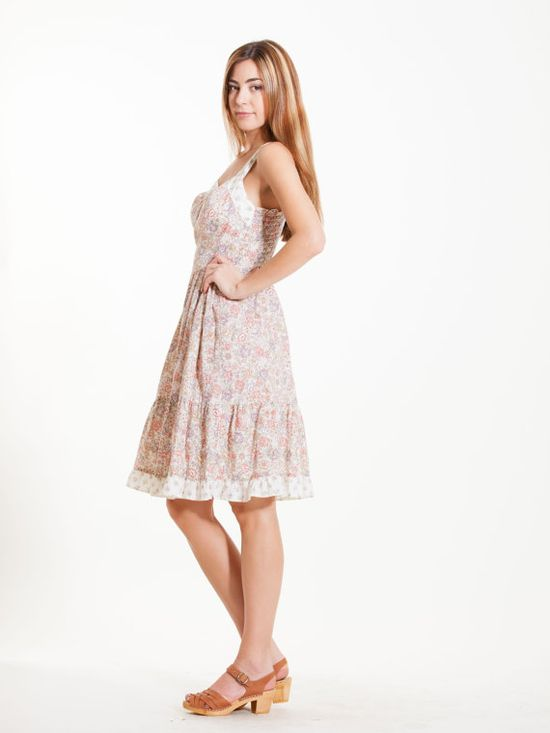 Flower Print Dress Vintage Cotton pastel color rose by Flyinganyc, $89.00