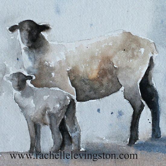 Super cute sheep art by rachelle levingston.