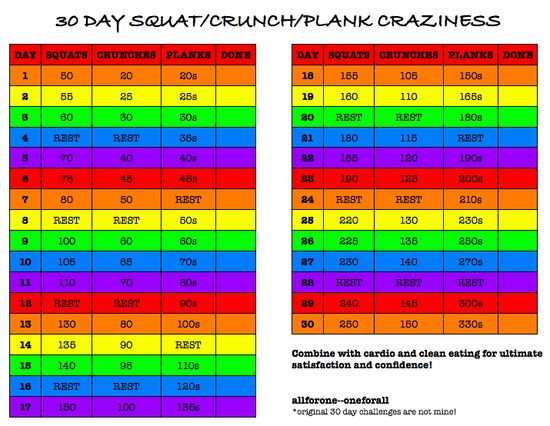 30 Day Squat/Crunch/Plank/Push Up Challenge with Tutorials