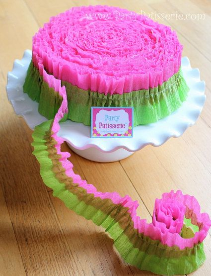 Ruffled Pink and Green Crepe Paper