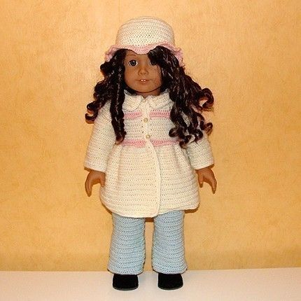 PDF Crochet Pattern - Jacket, Hat and Jeans to American Girl Doll or similar 18 inch Doll. $4.00, via Etsy.