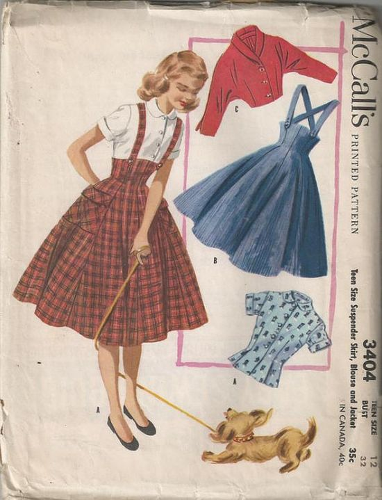 1955 Teen Suspender Full Skirt with Blouse and Jacket by Redcurlzs,