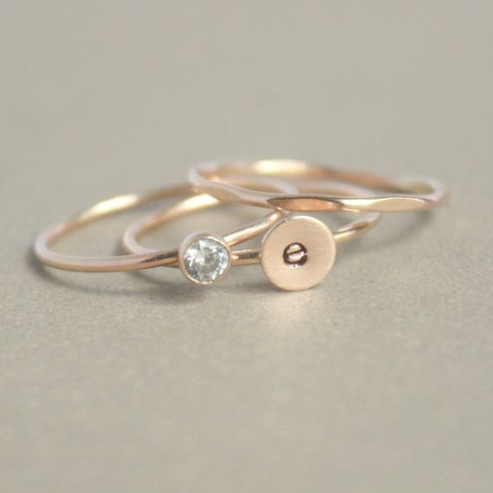 gold stacking ring SET. monogram initial ring. gold diamond ring. gold stacking ring. personalized set of THREE rings. instant collection.