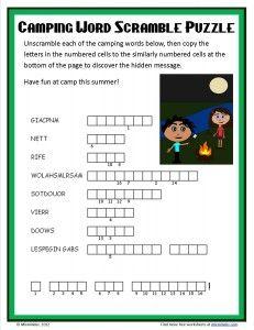 Free camping word scramble puzzle.
