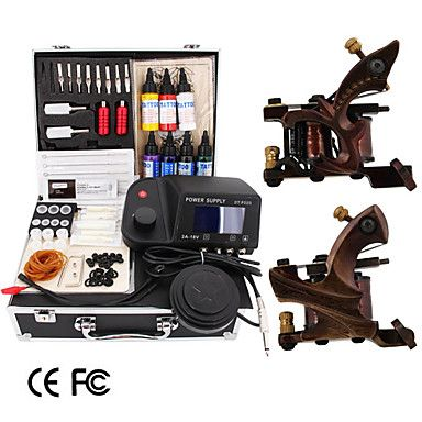2 Damascus Handmade Tattoo Gun Kit with LED Power – USD $ 189.99