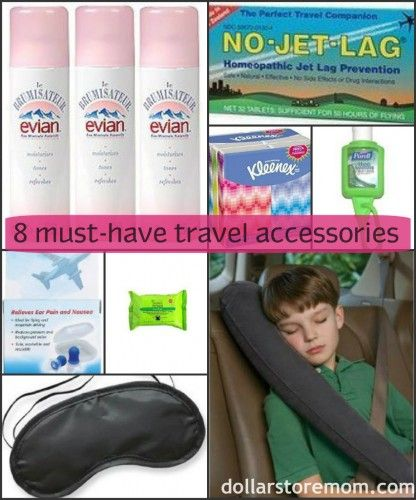 8 must-have travel accessories from dollarstoremom.com - put these together with a small travel blanket and some travel size supplies in a nice bag - for a great auction item
