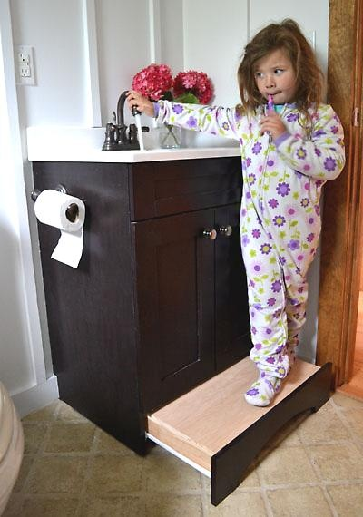 Build the step stool into the cabinet so that you don't have to store it somewhere when not in use