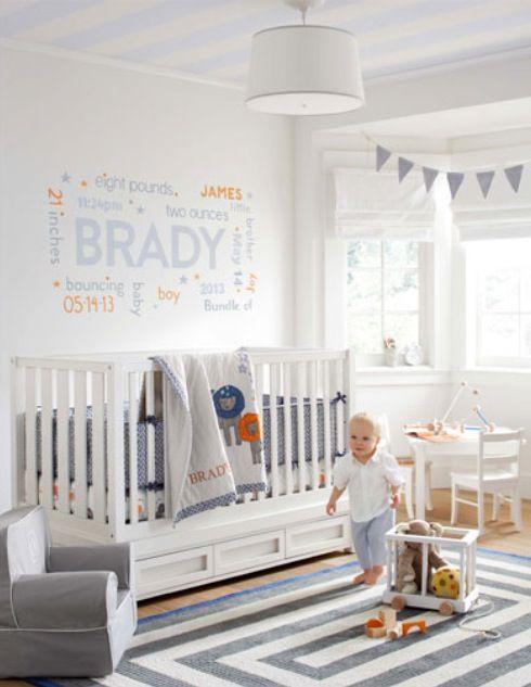 Gray & orange baby boy nursery. Love the wall decor!
