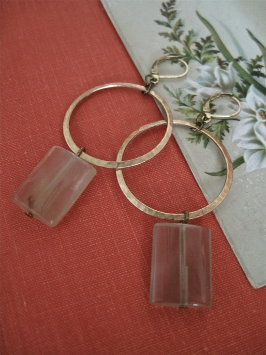 new in my shop - brass hoops with citrine squares. 20% + free shipping :)