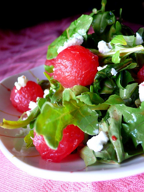arugula watermelon salad, I will be trying this when watermelon is in season.