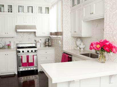 sparkly white kitchen with pink accents
