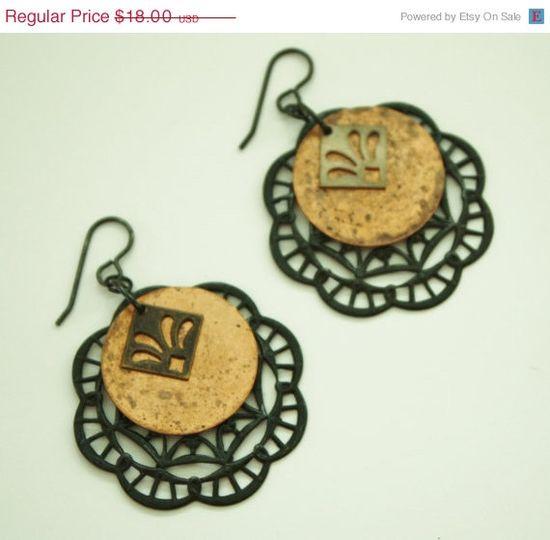 HALF OFF Brass and Copper Vintaj Earrings / by JustforJoyCreations, $9.00
