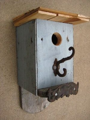Cute birdhouse with vintage hardware by amie