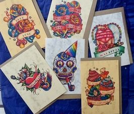 Chillie Fish Greeting Cards - handmade tattoo style greeting cards, bright colourful and well made. Reviewed on PVBDaily - inspirational, quirky online magazine. www.pvbdaily.com