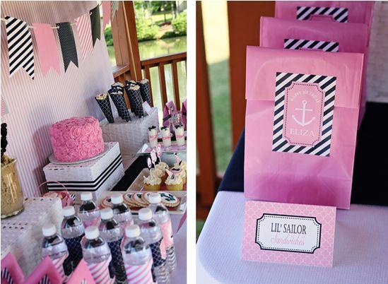 pink + navy nautical birthday