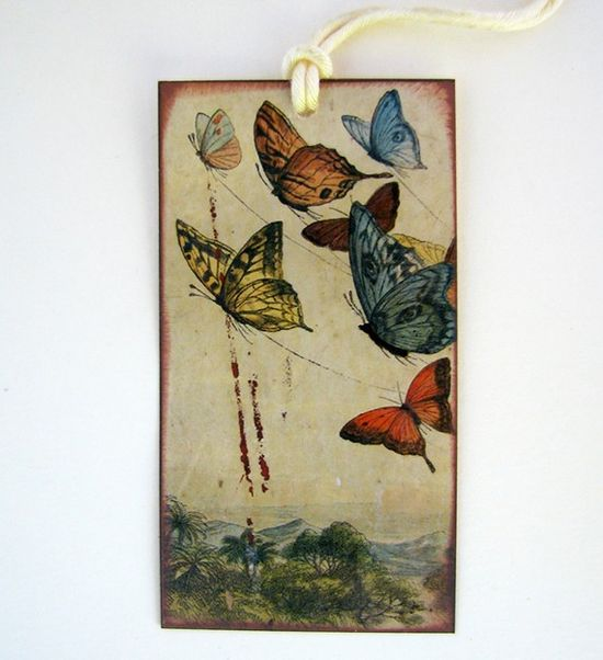 vintage butterfly stamped gift tag