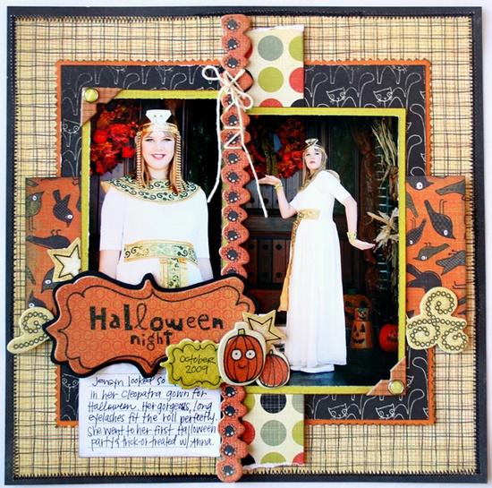 #papercraft #scrapbook #layout for #halloween scrapbooking idea.