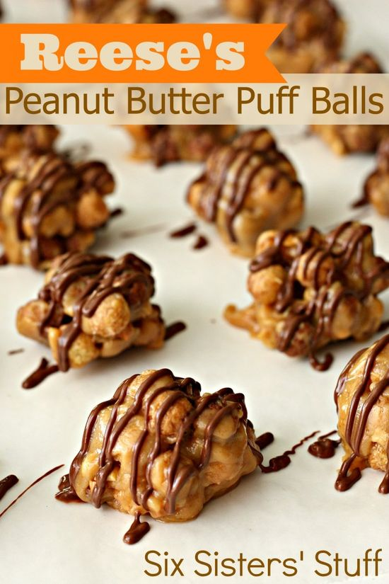 Reese's Peanut Butter Puff Balls from SixSistersStuff.com. An easy no-bake treat that takes less than 15 minutes to make! #dessert