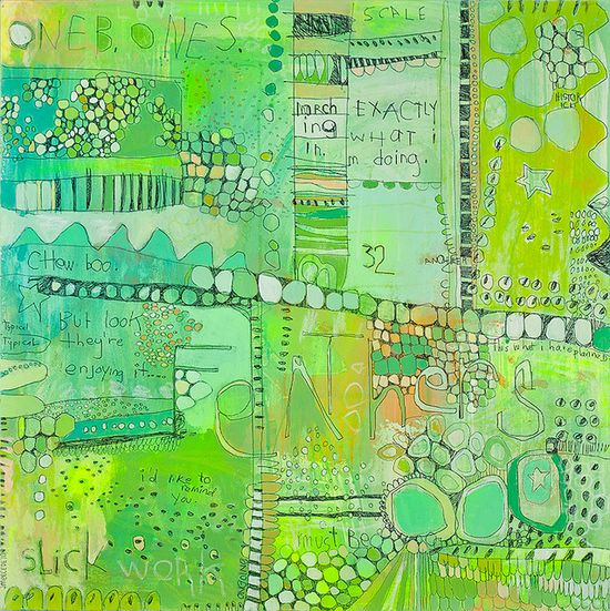 art journal in green doodles