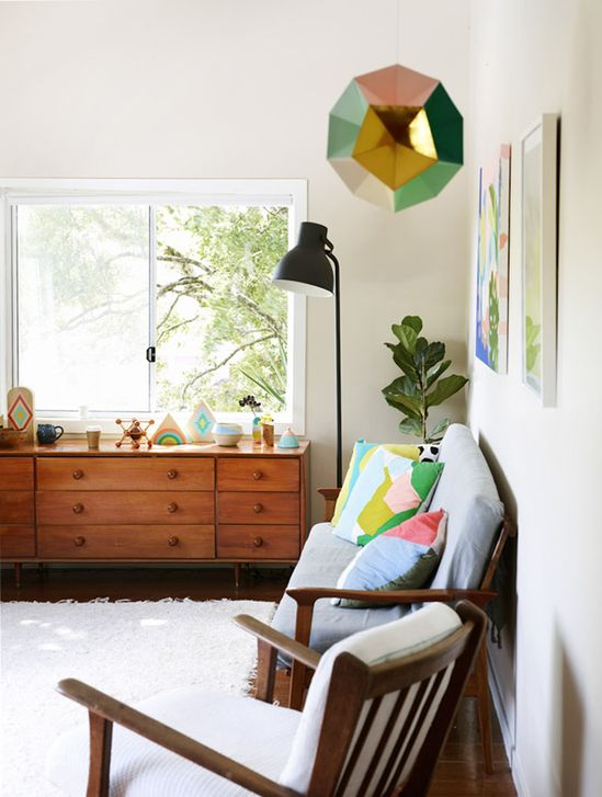 A COLORFUL HOMETOUR - a house in the hills. Love the ikea floor lamp