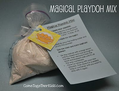 fun idea, playdough party favors with directions.  Each playdough is a different color/smell but you can't tell what color it will be untill you add the hot water.  (thanks to Kool Aid)