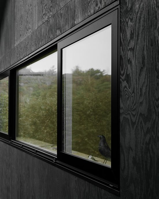 HOUSE MORRAN by Johannes Norlander Arkitektur.  The new facade is cladded in plywood, coated in black pine tar just like the traditional way of preserving wooden boats. The roof is coated in simple tar paper and has thin plywood eaves with integrated aluminum gutters, coated in black. The interior is all in natural pine and where plywood is used for both cladding and construction.