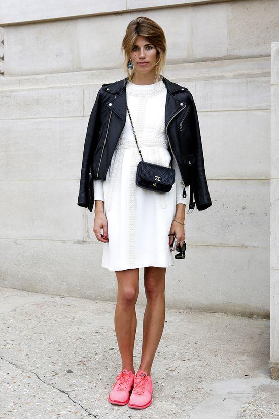hot pink nikes, white dress, leather jacket