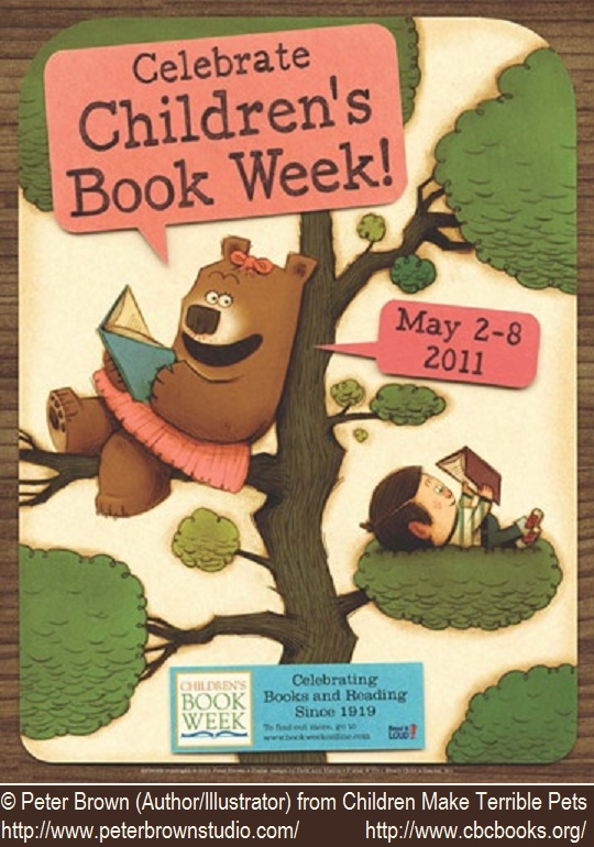 Children's Book Week 2011 (USA) poster © Peter BROWN (Author, Artist. USA) from his book 'Children Make Terrible Pets.'  Lucy the bear and her pet boy enjoy an alfresco read :-)  ...   His Books: www.peterbrownstu...  Prints & Posters: www.imagekind.com...   Give credit where due. Pin from the Primary Source.