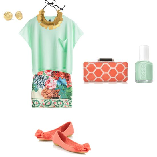 <3 mint & coral spring outfit <3