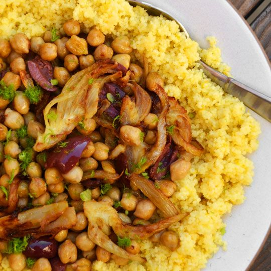 couscous with chickpeas, olives, fennel, and citrus #vegan