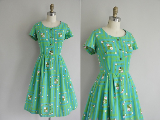 vintage 1950s dress / 50s green and teal blue cotton dress / 1950s full skirt floral dress. $98.00, via Etsy.