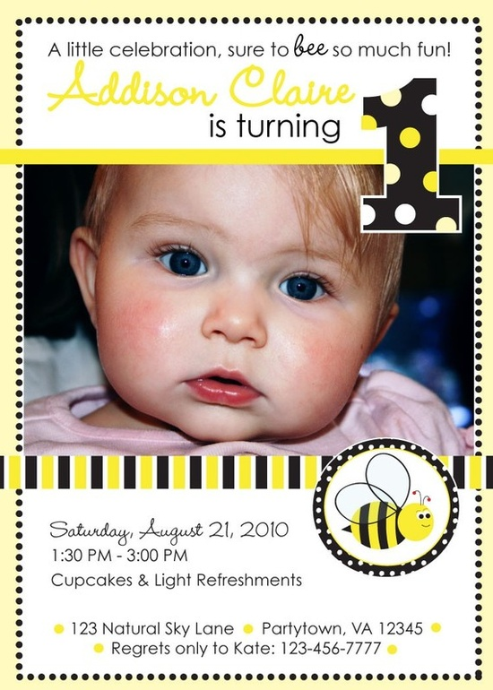 Bumble Bee Birthday Party Invitation thought about these too because I can order and address them online!